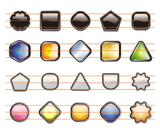 A collection of 100 shiny buttons in many shapes and styles that you can use with the icons in this package.